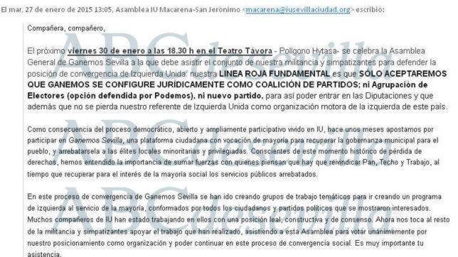 El correo electrónico difundido por Izquierda Unida entre sus militantes para que voten en bloque que Podemos Sevilla sea una coalición de partidos