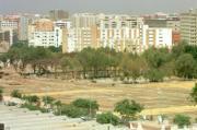 Atípica imagen de la avenida de la Constitución sin coches... en agosto. Rocío Ruz
