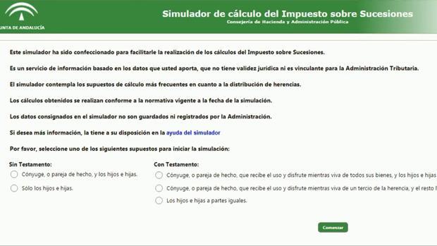 Simulador de la Junta para el impuesto de sucesiones