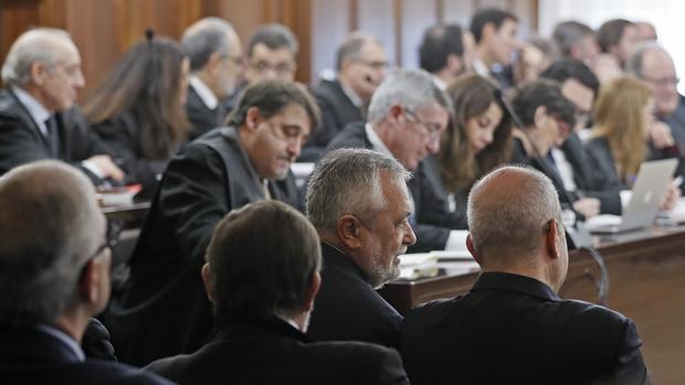 Sala de la Audiencia de Sevilla donde se celebra el juicio del caso ERE