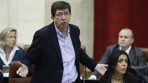 Juan marín durante una intervención en el Pleno del Parlamento andaluz