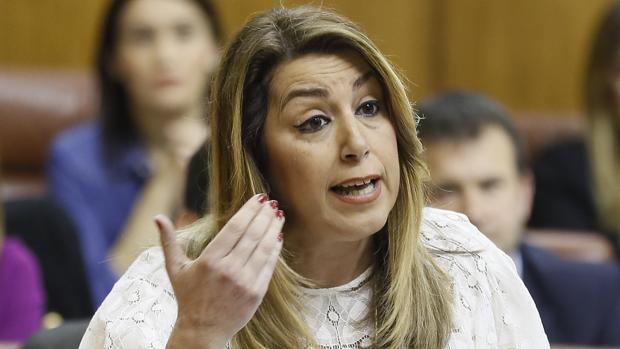 Susana Díaz en la sesión parlamentaria de este jueves