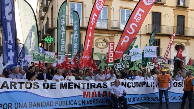 Manifestación a su llegada a la Plaza de la Merced