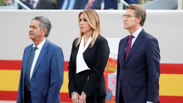 Susana Díaz, hoy junto a Alberto Núñez Feijoo y Miguel Ángel Revilla