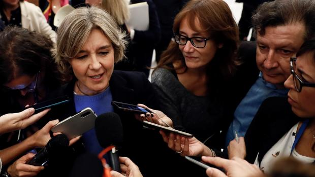 La diputada del PP Isabel García Tejerina atiende a los medios hoy en los pasillos del Congreso