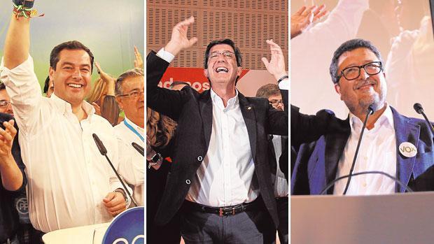 Moreno, Marín y Serrano, en la noche electoral el pasado 2D