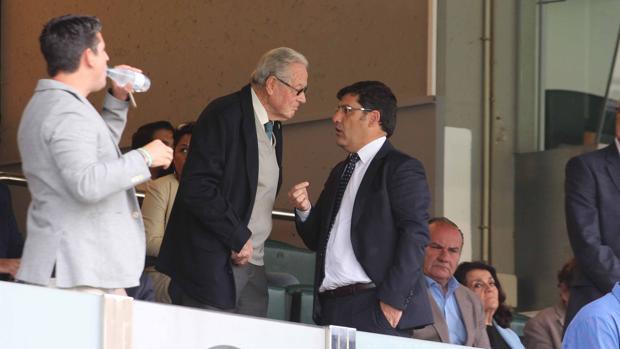 El presidente y máximo accionista del Córdoba CF, Jesús León, este domingo en el palco
