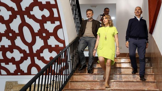 José Fiscal, Susana Díaz y Miguel Ángel Vázquez en la sede regional del PSOE andaluz