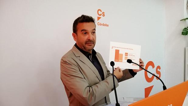 Marcial Gómez en una rueda de prensa en la sede de Ciudadanos