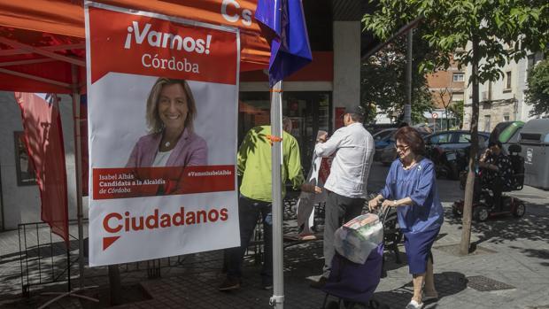 Publicidad electoral de Ciudadanos en el barrio de Ciudad Jardín de Córdoba