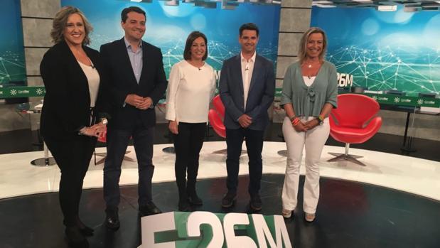 Los cuatro candidatos participantes en el plató de Canal Sur Córdoba