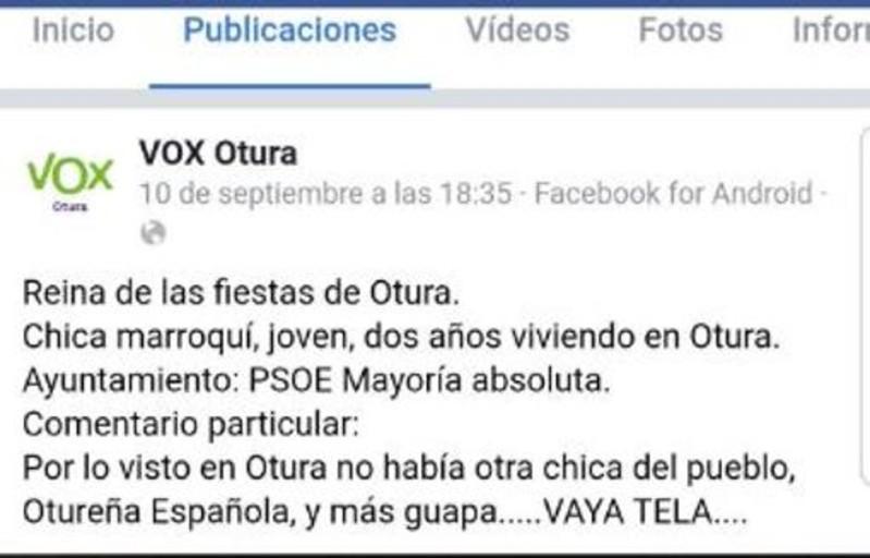 Denuncian a Vox por comentario xenófobo contra la reina de las fiestas de Otura