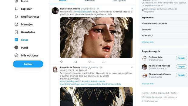 Tuits de cofradías de Córdoba comunicando su actividad