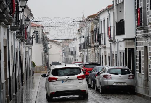 Calle vacía en Añora el viernes 8 de enero de 2021