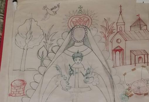 Boceto para el tapiz de la Virgen del Rocío