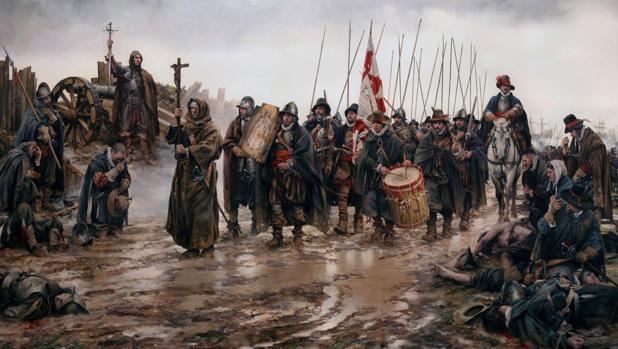 «El milagro de Empel», obra de Ferrer-Dalmau donde aparecen los Tercios