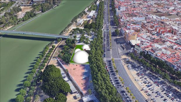 Recreación de las tres cúpulas geodésicas del nuevo teatro de la Imperdible