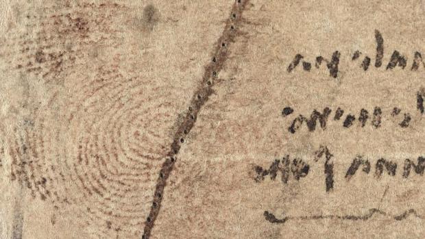 Huella del pulgar izquierdo de Leonardo hallado en un dibujo médico del sistema cardiovascular