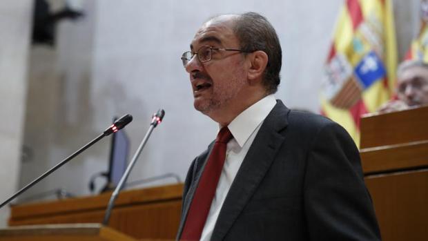 Javier Lambán durante su intervención en el debate anual de política general de las Cortes de Aragón en septiembre de 2018