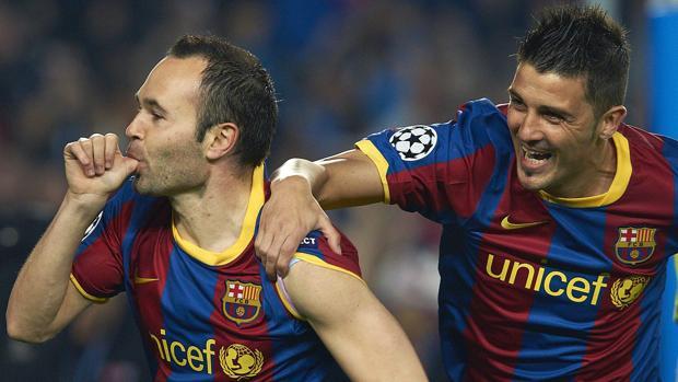 Andrés Iniesta y David Villa durante su etapa en el Barcelona