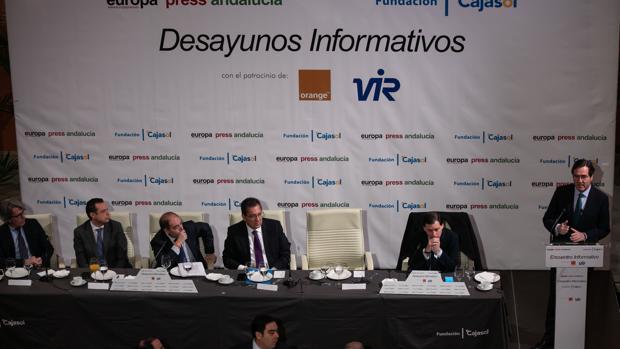 Antonio Garamendi, presidente de CEOE, durante su intervención esta mañana en Sevilla