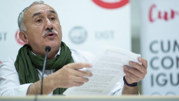 Pepe Álvarez, hoy, en su comparecencia ante la prensa