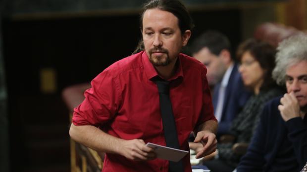 Pablo Iglesias este miércoles, en el Congreso de los Diputados