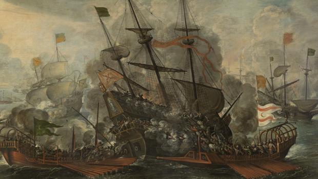 Combate naval y turcos saltando al abordaje, por Juan de la Corte