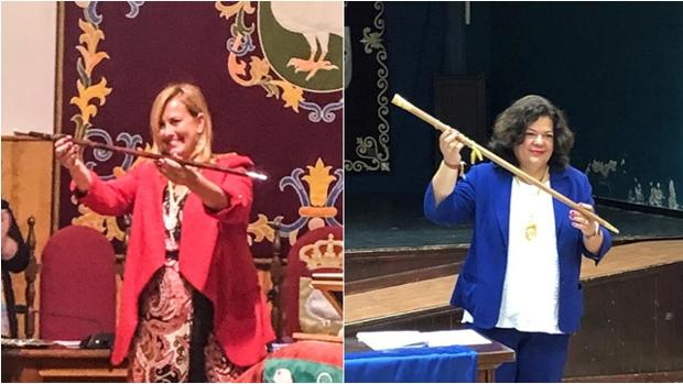 A la izquierda, la alcaldesa de Palomares, Anabel Jiménez; y a la derecha, María Eugenia Romero, del PP