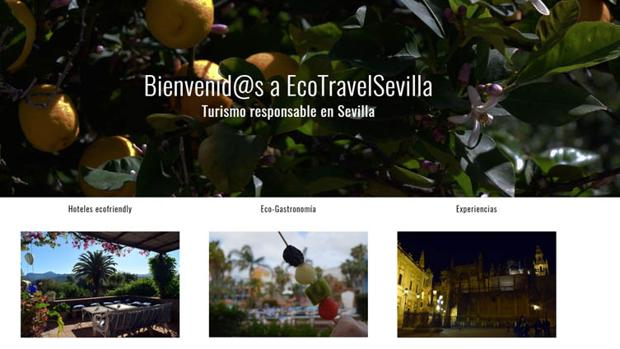 La página de inicio del sitio web Ecotravel Sevilla