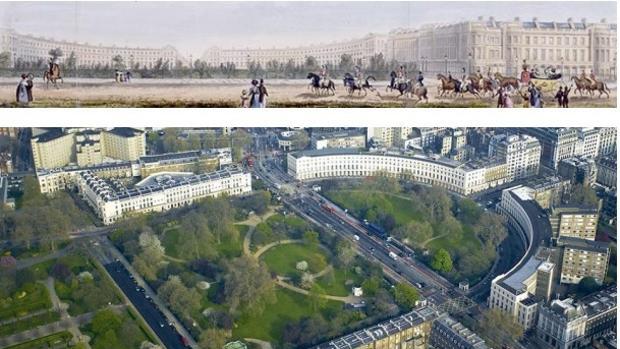 Edificio antiguo del centro de Londres y actual reconstrucción, en la que participa el estudio sevillano MV-BIM