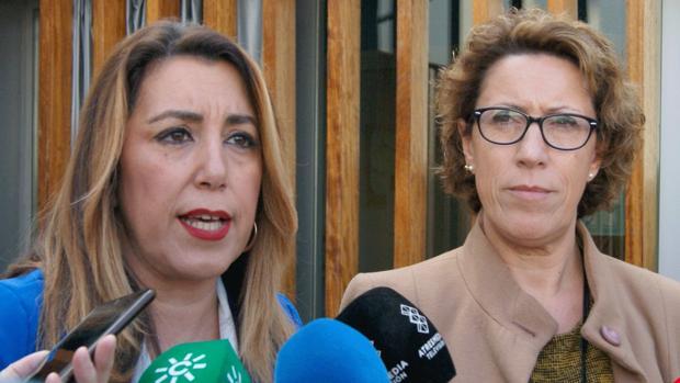 La exalcaldesa de Constantina, Eva María Castillo, junto a Susana Díaz en abril de 2019